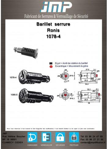 Barillet serrure Ronis 1078-4 - Plan Technique