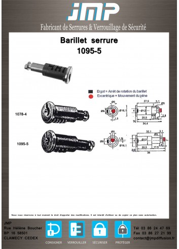 Barillet serrure Ronis 1095-5 - Plan Technique