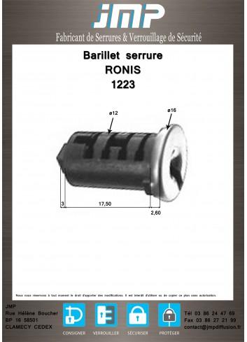 Barillet serrure Ronis 1223 - Plan Technique