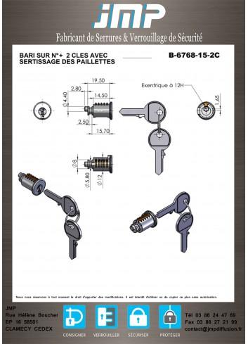 Barillet serrure B-6768-15-2C système MERLIN-GERIN - Plan Technique