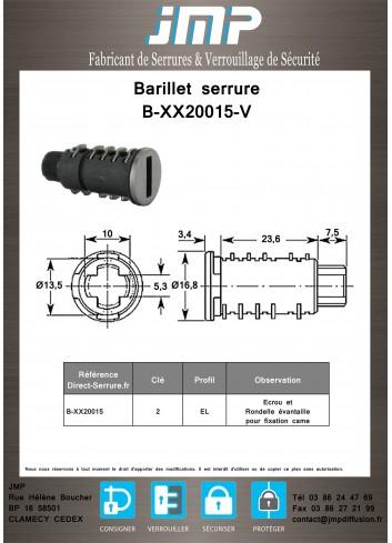 Barillet serrure  B-XX20015-V / type B129 - Plan Technique