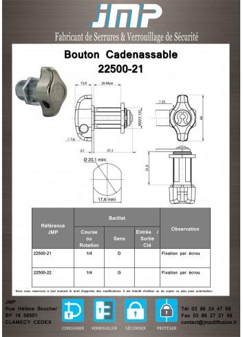 Bouton cadenassable 22500-21 - Plan Technique