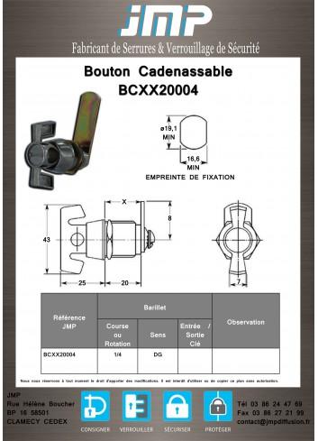Bouton cadenassable débrayable BCXX20004 - Plan Technique