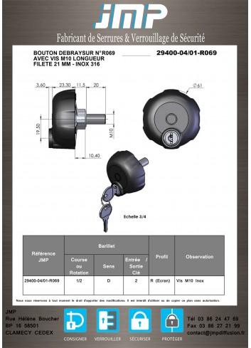 Bouton débrayable 29400-04-01-R069 vis  - Plan Technique