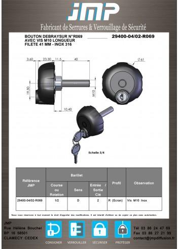 Bouton débrayable 29400-04-02-R069 vis  - Plan Technique