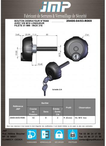 Bouton débrayable vis 29400-04-03-R069  - Plan Technique