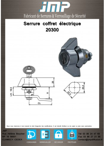 Serrure coffret électrique 20300 - Plan Technique