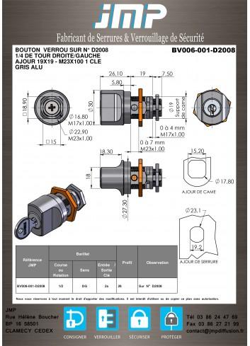 Bouton verrou BV006-001-D2008 - Plan Technique