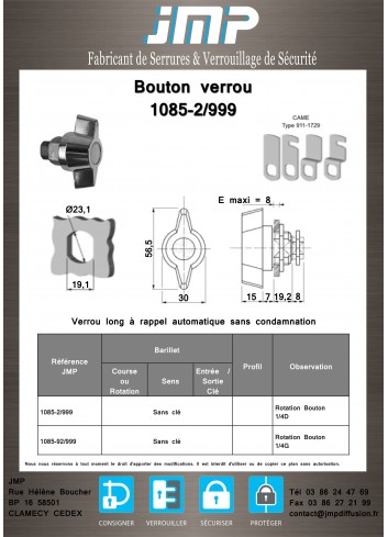 Bouton verrou long 1085-2-999 a rappel automatique - Plan Technique