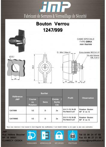 Bouton verrou 1247-999 serrure coffret électrique - Plan Technique