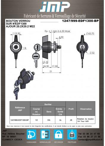 Bouton verrou 1247-999-BP serrure coffret electrique  20*M22 Lg18 (EDF1300-1400)  - Plan Technique