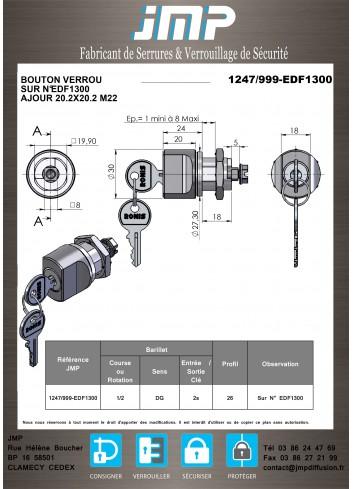 Bouton verrou 1247-999-ALU serrure coffret électrique  20*M22 Lg18 (EDF1300-1400) - Plan Technique