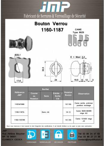 Bouton verrou 1160-1187 serrure coffret électrique - Plan Technique
