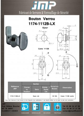 Bouton verrou 1174-1112B-LX serrure coffret électrique - Plan Technique