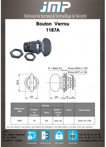 Bouton verrou 1187A serrure coffret électrique - Plan Technique