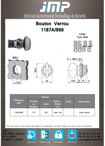 Bouton verrou 1187A/999 serrure coffret électrique - Plan Technique