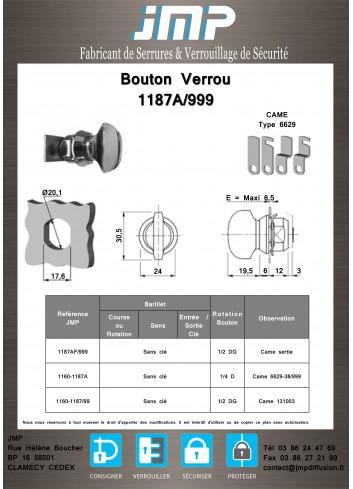 Bouton verrou 1187AF/999 serrure coffret électrique - Plan Technique