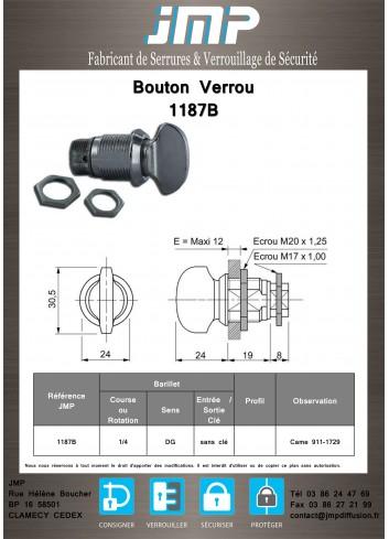 Bouton verrou 1187B serrure coffret électrique - Plan Technique