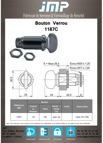 Bouton verrou 1187C serrure coffret électrique - Plan Technique
