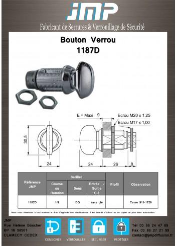 Bouton verrou 1187D serrure coffret électrique - Plan Technique