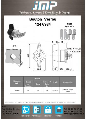 Bouton verrou 1247-984 serrure coffret électrique - Plan Technique