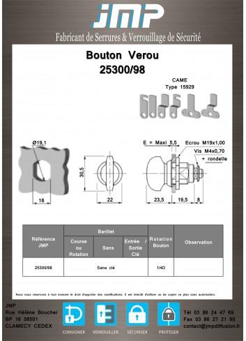 Bouton verrou 25300/98 serrure coffret électrique - Plan Technique