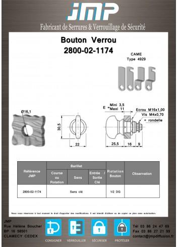 Bouton verrou 2800-02-1174 serrure coffret électrique - Plan Technique