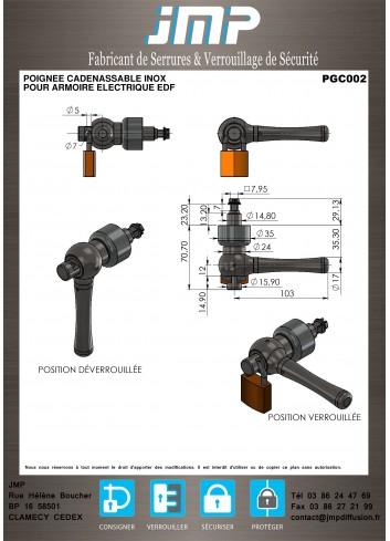 Poignée cadenassable inox PGC002 - Plan Technique