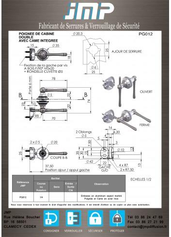 Poignée pour cabine PG012 - Plan Technique 1