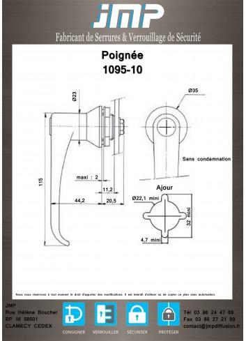 Poignée 1095-10 sans condamnation - Plan Technique