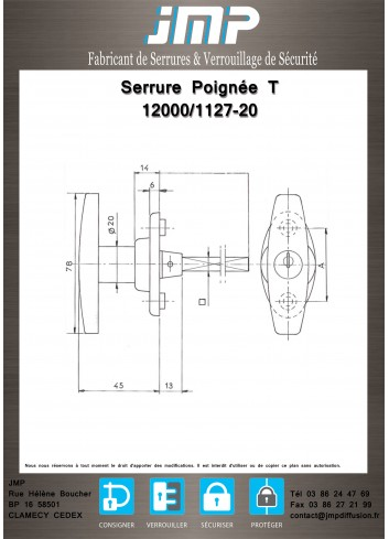 Poignée T 1127-20 / 12000 - Plan Technique 1