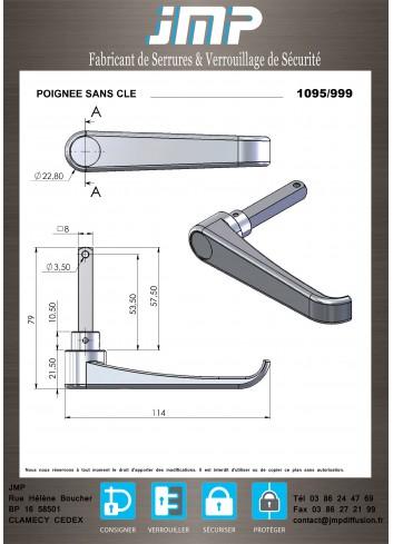 Poignée 1095-999 sans clé - Plan Technique