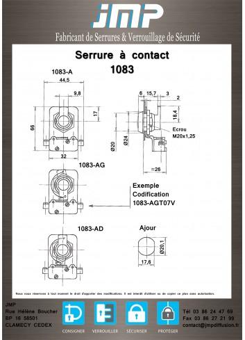 Serrure à contact 1083A116 - Plan Technique 1