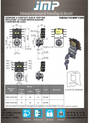 Serrure à contact 1083A119 - Plan Technique