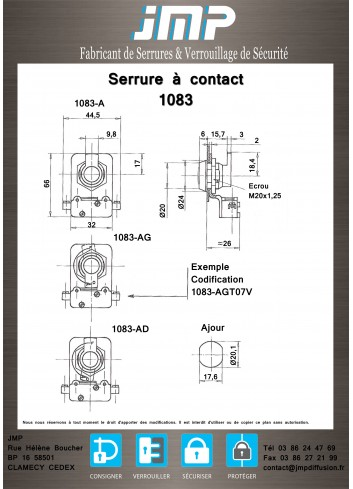 Serrure à contact crochet 1083A14 - Plan Technique 1