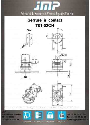 Serrure à contact T01-02CH électro-serrure à impulsion - RATP - Plan Technique 1