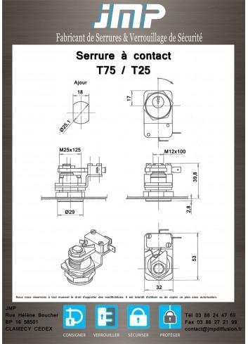 Serrure à contact T75H-PTT,T25H-PTT - Plan Technique 1