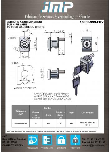 Serrure à entraînement 15900-999 pour meuble - Plan Technique
