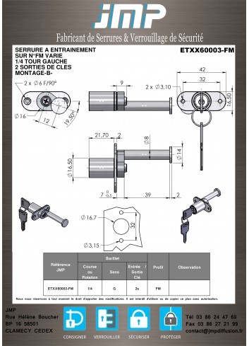 Serrure à entraînement ETXX60003 - Plan Technique