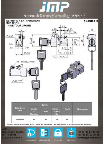 Serrure à entraînement 16300-02 - Plan Technique