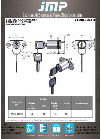 Serrure à entraînement ET998-006 - Plan Technique