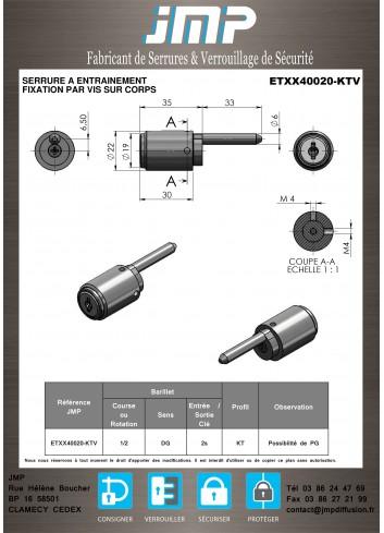 Serrure à entraînement ETXX40020-KTV pour meuble - Plan Technique