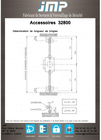 Tringlerie AC32800-AC+TR pour serrure encloisonnée 32800 - Plan Technique 1