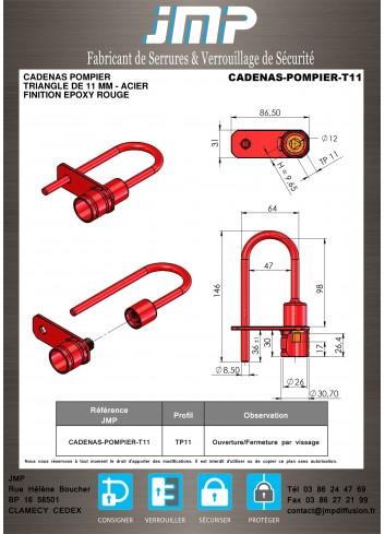 Cadenas Pompier Triangle de 11mm - Acier - Plan Technique