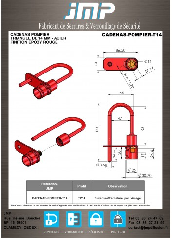Cadenas Pompier Triangle de 14mm - Acier - Plan Technique