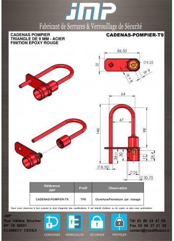 Cadenas Pompier Triangle de 9mm (pour ascenseur) - Acier - Plan Technique
