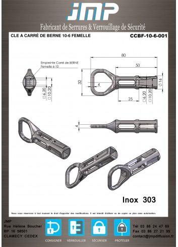 CLE CCBF-10-6-001 A CARRÉ DE BERNE 10-6 FEMELLE - Plan Technique