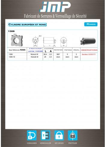Cylindre serrure 1306-10 Bandeau Guidotti - Plan Technique