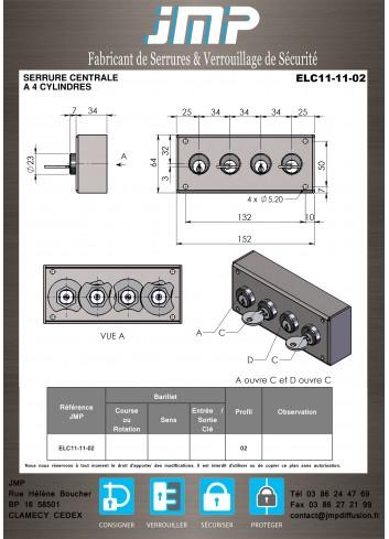Serrure Interverouillage ELC11-11-02 consigneurs de clés - Plan Technique
