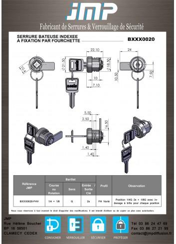 Serrure à came batteuse BXXX0020 indexée fixation par fourchette - Plan Technique